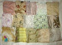 """LOT PURE SILK Vintage Sari Fabrics REMNANT 16 pcs 8"""" SQUARES Cream BEIGE DECOR"""