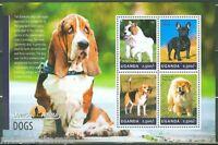UGANDA 2014 DOMESTIC ANIMALS DOGS ELO FRENCH BULLDOG BEAGLE DOBERMAN SHEET FDC