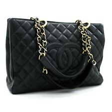 "x46 CHANEL Authentic Caviar GST 13"" Grand Shopping Tote Chain Shoulder Bag Black"