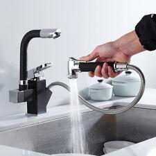 360° Swivel Spout Kitchen Sink Mixer Taps Black With Pull Out Bidet Spray Tap