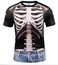 Women/Men 3D T-Shirt Funny Human Skeleton Muscle Casual Short Sleeve Tops Tee