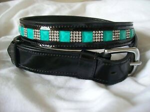 NEW! BLING*Ladies PATENT Leather Belt*Clear Crystals/Aqua*Dressage/Fashion*BLACK