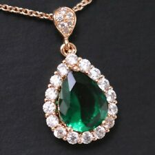 Sparkling 3 Ct Pear Green Emerald Diamond Halo Pendant Necklace Wedding Jewelry