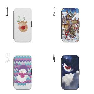 Christmas Festive Santa Reindeer Wallet Flip Case Cover For iPhone & Samsung