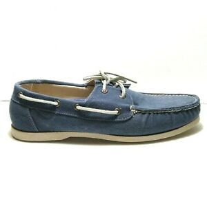 Mens Cole Haan Dominick Boat Shoes Canvas Chambray Blue Size 12 M