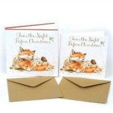 WRENDALE 8 PACK LUXURY CHRISTMAS CARDS TWAS THE NIGHT BEFORE CHRISTMAS FOXES.