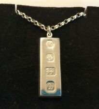 Heavy Men's sterling silver Ingot pendant & chain - 41.7 gms