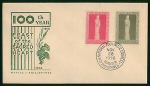 Mayfairstamps Philippines FDC 1956 Feast of Sacred Heart Combo 100th Year First