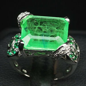 EMERALD GREEN OCTAGON 12.30 CT. GARNET 925 STERLING SILVER RING SIZE 7.25 GIFT