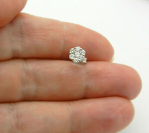 18K White Gold Single Stud Earring Cluster Natural Diamonds 0.23 tcw - only One