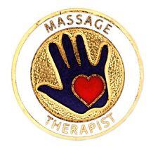 Massage Therapist Lapel Pin Medical Professional Massaging Hand Red Heart New