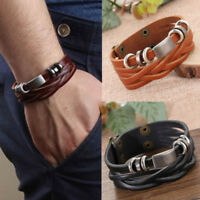Men's Braided Leather Stainless Steel Cuff Bracelet Bangle Wristband Accessories