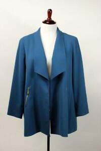 TAHARI ASL Teal Green Long Blazer Jacket Gold Zippers Modern Career PLUS 3X 22W