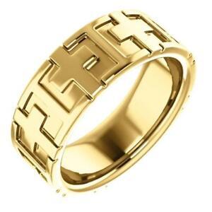 14k Yellow Gold Cross Wedding Band
