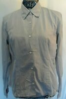 Banana Republic Womens Shirt Size L Light Blue Dark Blue Pinstripes Long Sleeve