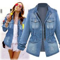 Plus Size Womens Casual Denim Long Sleeve Jeans Chain Zipper Jacket Pocket Coat