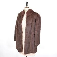 VINTAGE 70s Mauve REAL CONEY RABBIT FUR Boho Party DIVA Glam Wedding Coat UK M