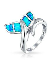 Blue Opal 925 Silver Women Mermaid Tail Jewelry Wedding Engagement Ring Sz 6-10