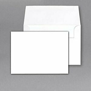"Blank White Heavyweight Flat Note Cards and Envelopes - 4 1/2 x 6"" - Pack of 50"