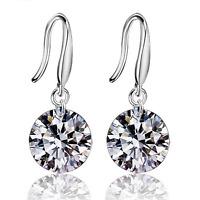 Elegant 925 Sterling Silver Women Crystal Cubic Zirconia Ear Stud Earring Gift