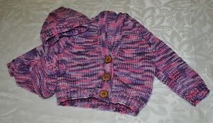 Hand knitted baby Cardigan, Beanie and bootie set 3 to 6 months