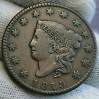 1819 Penny Coronet Large Cent - Nice Coin, Free Shipping  (9653)