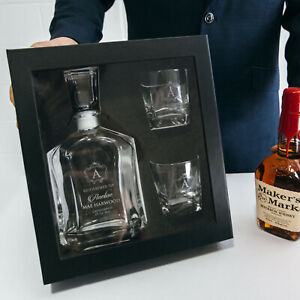 Godparent Personalised Engraved Godfather Whiskey Decanter Scotch Glasses Gift