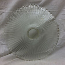 Vintage Clear Glass Diffuser Lamp Shade Flat Ornate Ribbed