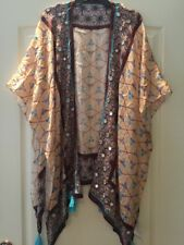 New ANTHROPOLOGIE Mirror Border Multi Color Kimono Poncho Wrap Tassels $138 Boho
