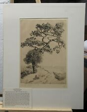 """Walter Locke 1935 Florida Etching """"Along the Gulf of Mexico"""" Listed Artist"""