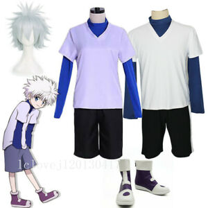 Hunter X Hunter Killua Zoldyck Cosplay Anime Halloween Costume Uniform Suit Wig