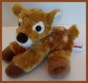"Aurora Baby Fawn White Tail Deer 6"" Plush Stuffed Animal Toy Beanbag Soft Nose"
