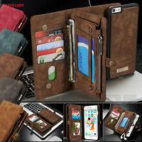 Leather Removable Wallet Magnetic Flip Card Case Cover for iPhone X & 8/7/6 Plus