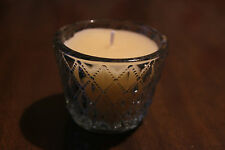 Teacup Candle clear bevelled glass votive, Xmas cedar cream wax, Christmas gift