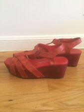 ANTELOPE Red Distressed  Leather T Strap  Ankle Platform Sandals Sz 37/ US Sz 7