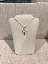 .925 Sterling Silver Children's Cross Design Crucifix Pendant & Chain Necklace
