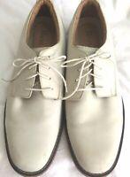 Bass Mens Size 13 Cream Ivory Buckskin Leather Oxford Gunslinger Flex Shoes