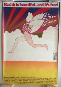 Original Vintage Poster Peter Max Health Is Beautiful & Free 1970's LGBT Pin-up