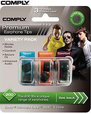 Comply Foam Variety Pack 200 3 Pairs In-Ear Earphone Tips Medium Black LE