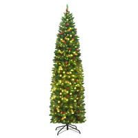 7.5Ft Pre-lit Hinged Pencil Christmas Tree w/Pine Cones Red Berries & 350 Lights