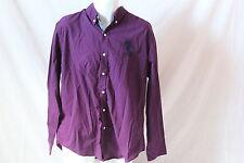 Men's Purple U.S. POLO ASSN. Checkered Button-Down Long-Sleeved Shirt (XL)