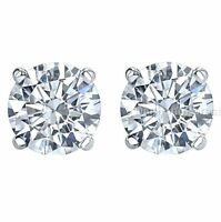 Round 2.00 Ct Genuine White Moissanite stud earrings 14k white gold lowest price