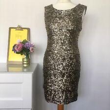 ☆ ZARA ☆ Stunning Gold Sequinned Party Dress, Sz Medium 10 D5