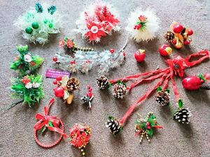 16 1960s-90s Vintage Christmas Foliage Decorations, Xmas ornaments, Holly