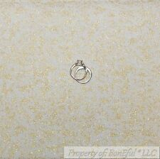 BonEful Fabric FQ Cotton Quilt White Gold Glitter Metallic Sparkle Princess Girl