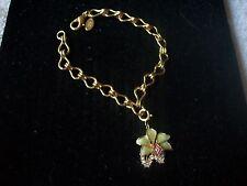 NOLAN MILLER Signed Bracelet Goldtone Chain Enamel & Crystal Flower NEW Grt Gft