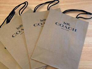1 COACH NEW YORK Brown Paper Small Shopping Bags ~ Great Gift Bags 10 x 8