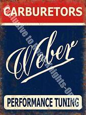 Vintage Garage Weber Carburetor Car Racing Advertising Small Metal/Tin Sign
