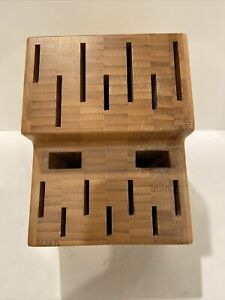 The Pampered Chef Knife Block Bamboo Wooden Large 16 Slot