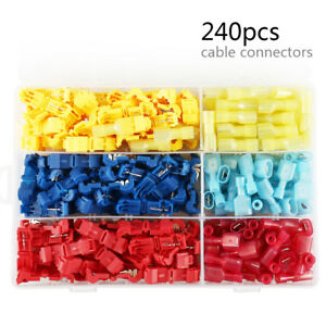 240pcs T-Tap Terminals Electrical Wire Crimp Quick Splice Cable Connectors Kit ~